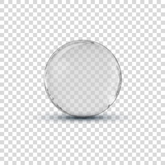 Big white transparent glass sphere ball with glares and shadow