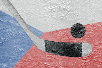 The image of the Czech flag and hockey puck with a stick