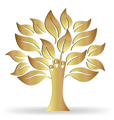 Tree people gold ecology concept logo vector