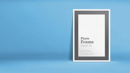 Vector, Blank Photo Frame in blue studio room, Template mock up for display or montage of your content,Business presentation backdrop, 16:9 ratio background