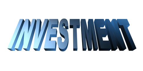 3D investment text on white background