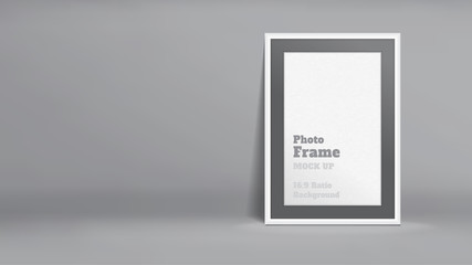 Vector, Blank Photo Frame in dark grey studio room, Template mock up for display or montage of your content,Business presentation backdrop, 16:9 ratio background