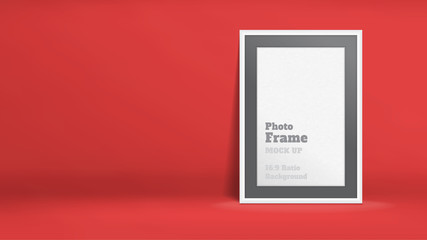 Vector, Blank Photo Frame in red studio room, Template mock up for display or montage of your content,Business presentation backdrop, 16:9 ratio background
