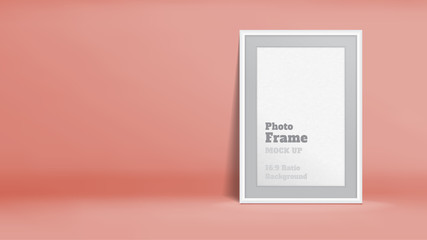 Vector, Blank Photo Frame in pastel rose orange studio room, Template mock up for display or montage of your content,Business presentation backdrop, 16:9 ratio background