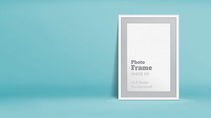 Vector, Blank Photo Frame in pastel turquoise studio room, Template mock up for display or montage of your content,Business presentation backdrop, 16:9 ratio background