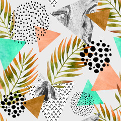 Fototapeten Grafik Druck Abstract summer geometric seamless pattern