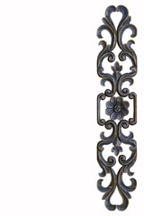 Brown frame carve flower on white background