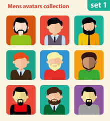 Flat mens avatar collection, set of 9 people icons in flat style with faces, men character