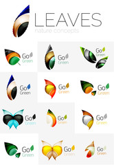 Abstract geometric leaves, company logo collection, nature icon set