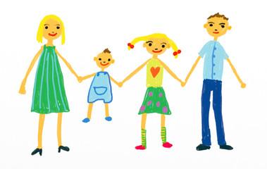 Kinderzeichnung Familie