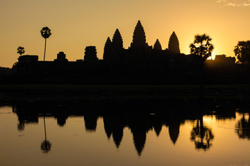 Sunrise at Angor wat in Cambodia, which is a world heritage