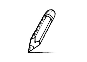 Pencil icon on white background. Collection of pencil. Hand drawn cartoon pencil in doodle style.