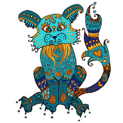 Color doodle cat. illustration of a cat adorned with ornaments. Cat in blue, brown, yellow and ocher. For prints, T-shirts, scrapbooking and design