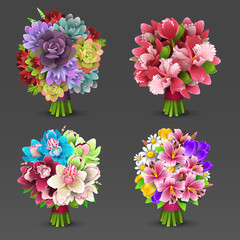 Illustration of flowers bouquet set
