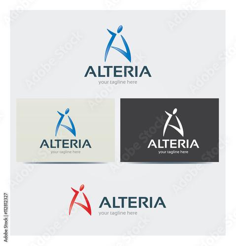 Logo Lettre A Personnage Silhouette Carte De Visite Et Charte Graphique Entreprise Plusieurs Couleurs
