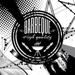 Barbeque, grill on abstract background. Black and white.