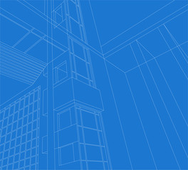 Architecture detail,building exterior vector wireframe on a white background