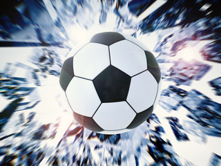 black and white soccer ball with broken glass background