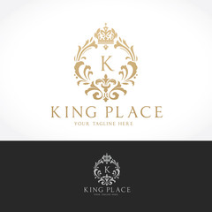luxury logo template,boutique brand,real estate,property,royalty,crown logo,crest logo,hotel logo. Vector Logo Template.