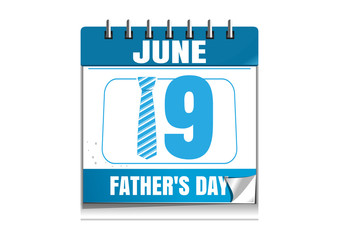 Fathers Day date. Blue wall calendar. Fathers Day date in the calendar. 19 June. Wall calendar isolated on white background. Vector illustration