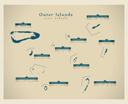 Modern Map - Outer Islands of Seychelles SC