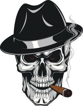 Evil skull with cigar