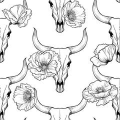 Bull skull and poppy flowers on  white a  background vector seamless pattern