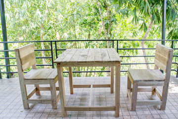 real wood table and chair