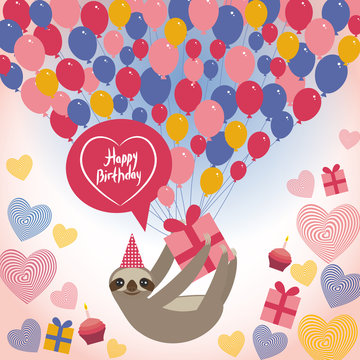 Three-toed sloth on white background. happy birthdaycard. Heart, gift box, balloons, birthday cake, hat. Blue, pink, orange. Vector
