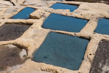 Salt pans, city Marsaskala, island Malta