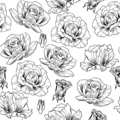 Roses vector seamless pattern