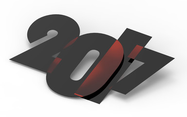 2017 New Year concept. 2017 on white background. 3D illustration