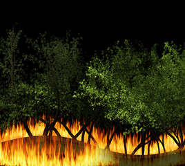 3D illustration forest fire burning, bushfire, wildfire close-up at night. a wildfire is an uncontrolled fire in an area of combustible vegetation.
