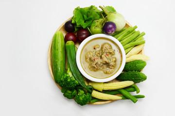 Thai style chili sauce and vegetable, Thai food