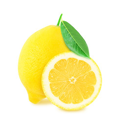 Juicy yellow whole lemon with leaf and half of lemon isolated on a white background. Design element for product label, catalog print, web use.