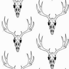 Deer skull  vector seamless pattern