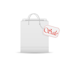 White shopping bag with sale label