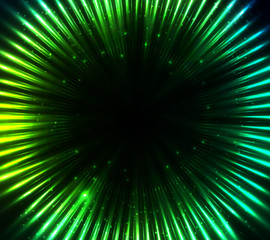 Green shining cosmic lights abstract background