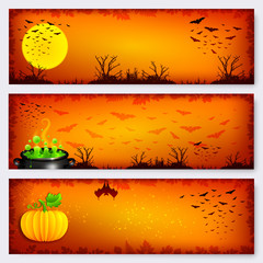 Orange Halloween banners backgrounds set
