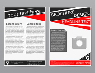 Vector flyer brochure design geometric template abstract. Black red color.