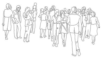 Группа людей.Стилизованные контурные фигуры