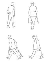 Фигуры идущих мужчин в костюмах