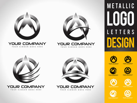 Metallic Letter A Logo Designs. Creative abstract vector letter icons with metallic look.