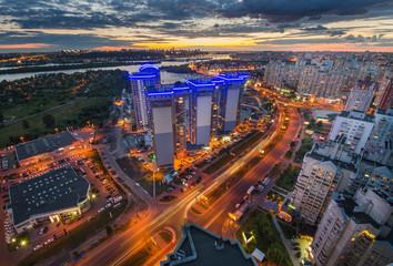 Night Kiev aerial view
