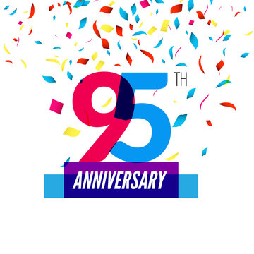 Anniversary design. 95th icon anniversary. Colorful overlapping design with colorful confetti