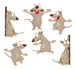 Illustration of a Set of a Cute Cartoon Cute Rats