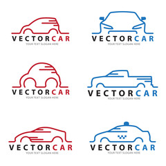 Red and blue Line car logo sign vector set design