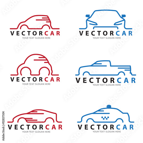 Quot Red And Blue Line Car Logo Sign Vector Set Design Quot Stock