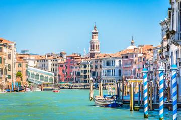 Venice cityscape idyllic waterfront view. / Idyllic waterfront view at marble Venice,famous touristic destination, during renovation of Rialto bridge.