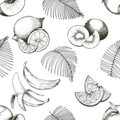 Vector seamles pattern of tropical fruits. Banana, peach, lemon, kiwi and palm leaves in vintage engraved style. Hand drawn exotic organic tasty fruits isolated on white background.